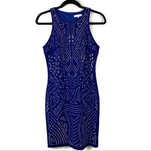 Fate | royal blue geometric rhinestone party dress